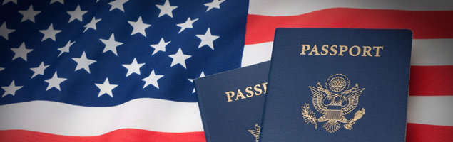 Passports and American flag